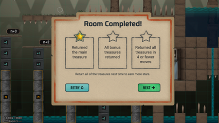 Curse Reverse screenshot showing a star chart after completing a room.